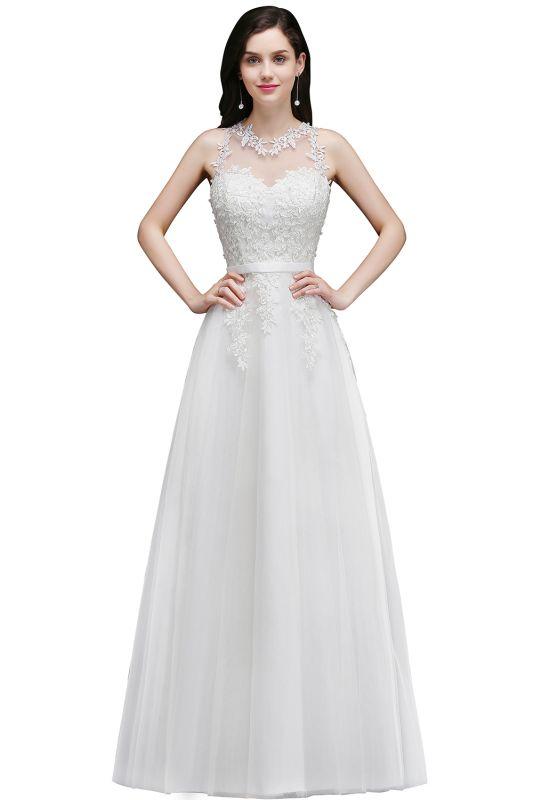 Elegant A-Line Tulle Prom Dresses | Scoop Sleeveless Lace Appliques Evening Dresses BM0133