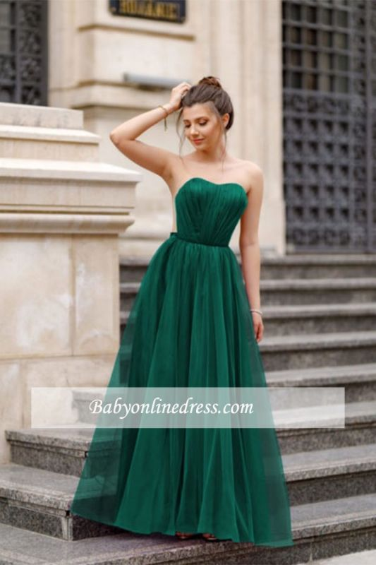 A-line Formal Backless Sweetheart Floor-length Charming Ruffles Evening Dress