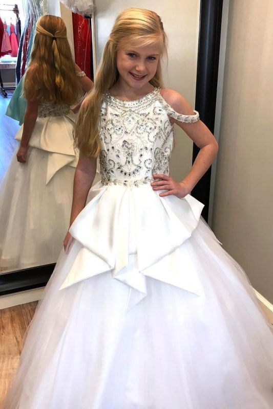 Flower Girls A-line Beading Formal Dresses | Floor Length Wedding Party Dresses
