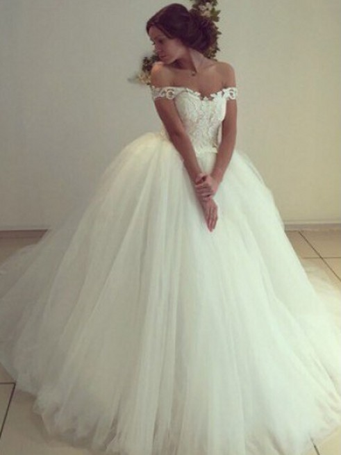 Elegant Ball Gown Wedding Dresses | Off The Shoulder Lace Appliques Bridal Gowns