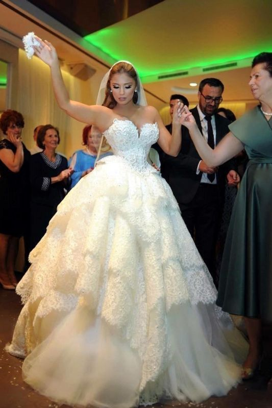 Sexy Bridal Strapless Wedding Dresses   Lace up Appliques Wedding Ball Gown