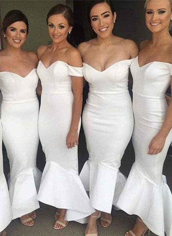Simple White Mermaid Bridesmaid Dresses | Off-the-Shoulder Hi-Lo Maid of the Honor Dress