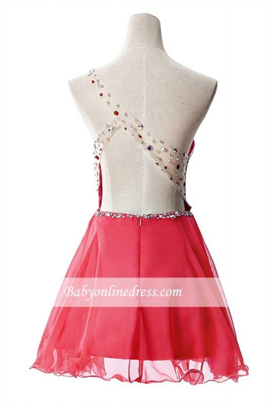 Open-Back One-Shoulder Glamorous Short A-Line Crystal Homecoming Dresses