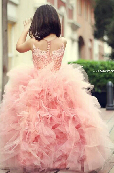 Chic Mother And Daughter Dresses Girl's Pageant Dresses Pink Ruffles Sleeveless Flower Girl's Dresses