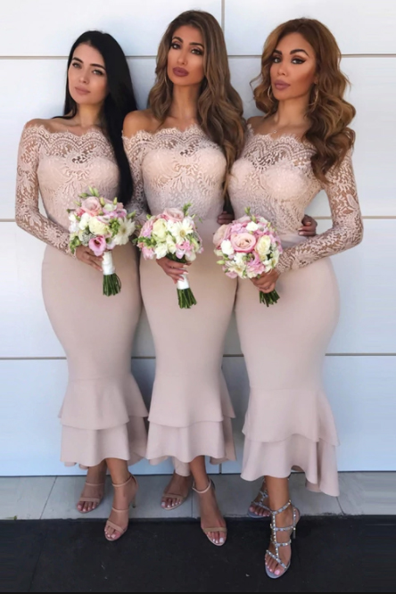 Bridesmaid Off-The-Shoulder Mermaid Ball Gown | Lace Appliques Wedding Party Dresses
