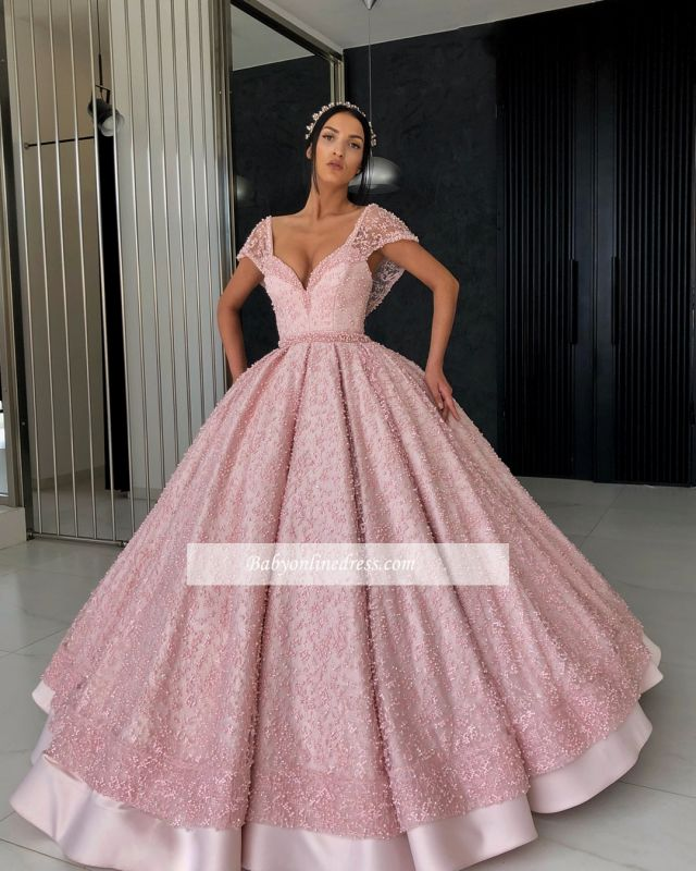 Gorgeous Cap Sleeves V-Neck Evening Dresses   Appliques Ball Gowns Prom Gowns