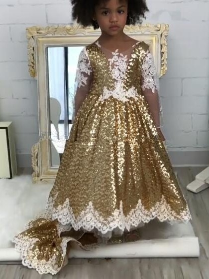 Shiny Gold Ball Gown Flower Girl Dresses | Cute Long Lace Kid's Pageant Dresses