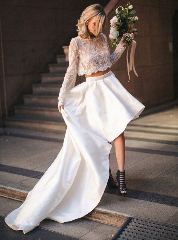 Elegant Lace Two Piece Wedding Dress With Lace Top | Cheap Bateau High Low A-Line Bridal Gowns