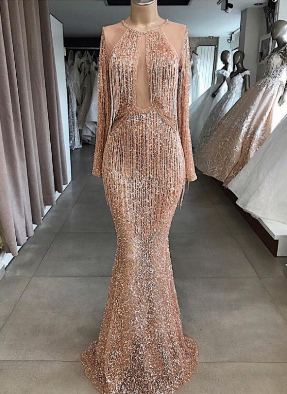 Luxury Tassel Mermaid Evening Gowns   Long Sleeves Sequin Formal Dresses BC1914