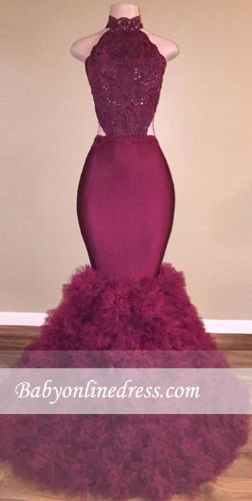 Glamorous Backless Mermaid Burgundy Lace Prom Dress