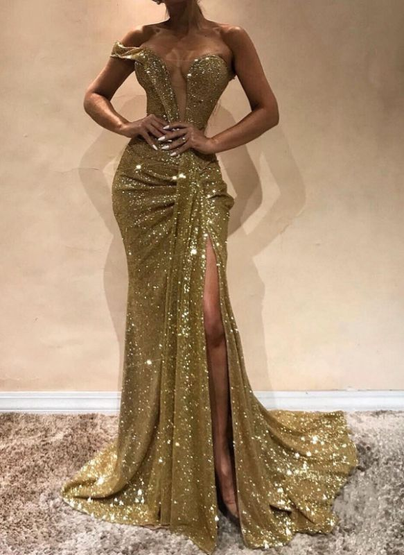 Sexy Gold Sequins Slit Prom Dresses | Glittering Ruched Mermaid Evening Gowns