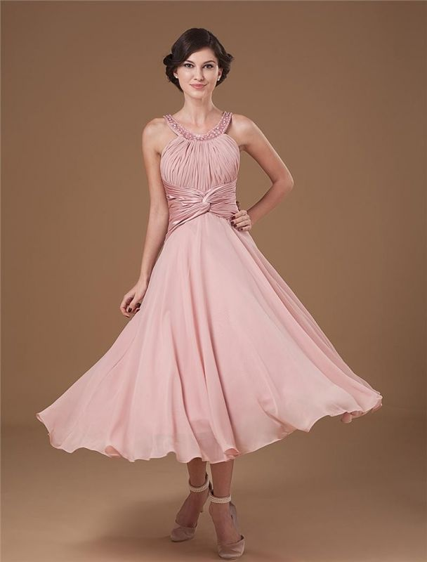 Chiffon Ruffle Halter Beading Tea Length Mothers of Bride & Guests Dresses