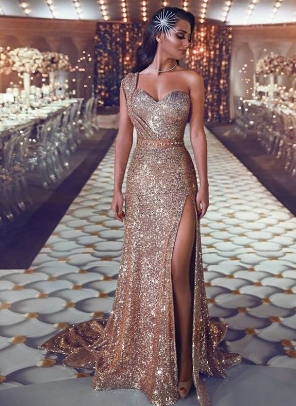 Shiny Gold Sequins Prom Dresses | One-Shoulder Beading Slit Evening Gowns