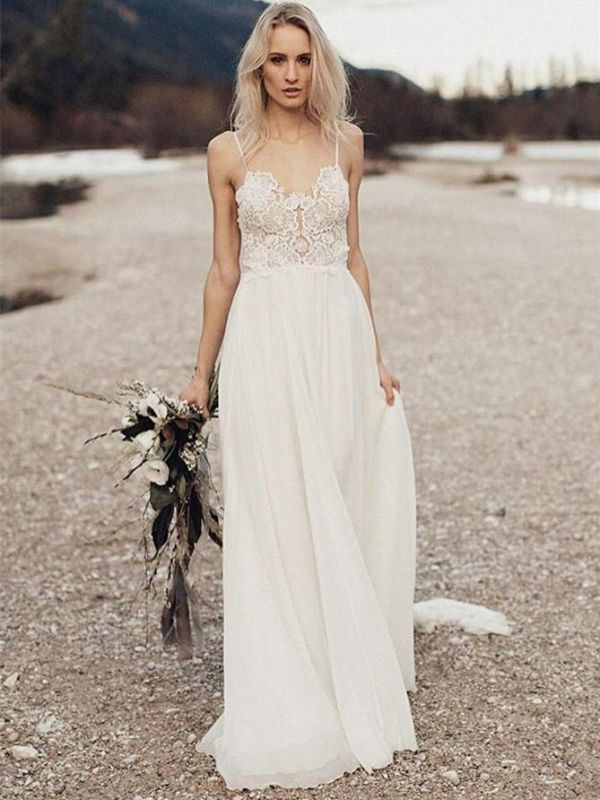 Sexy Chiffon A-Line Summer Wedding Dresses | Spaghetti Straps Lace Beach Bridal Gowns