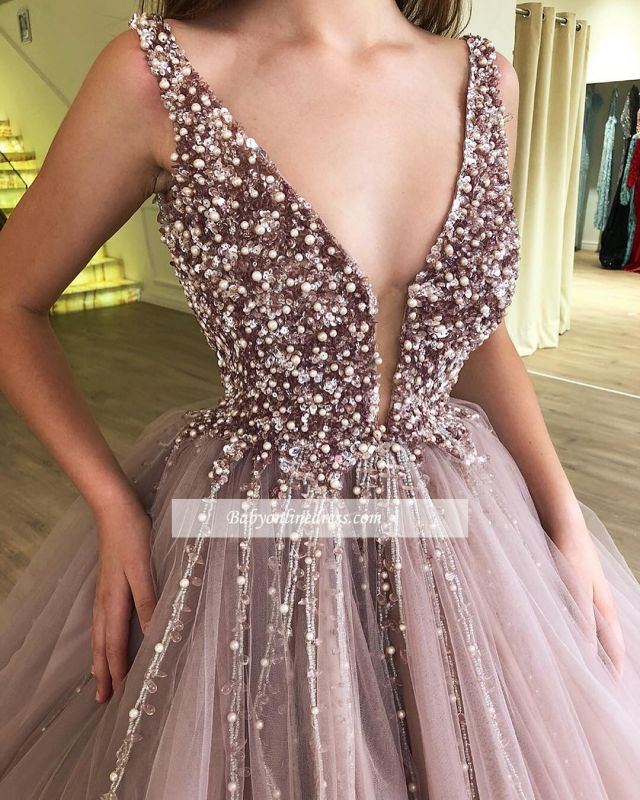 Charming Sleeveless V-Neck Prom Gowns | Long Beading Ball Gown Evening Dresses