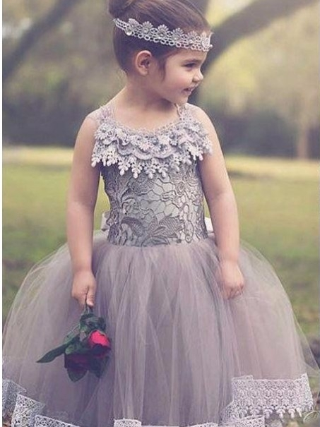 Chic Ball Gown Tulle Flower Girl Dresses | Lace Bows Kids Pageant Dresses