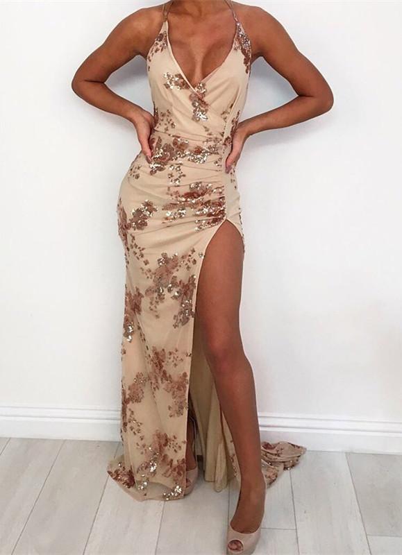 Halter Sexy V-Neck Sequins Prom Dress With Slit