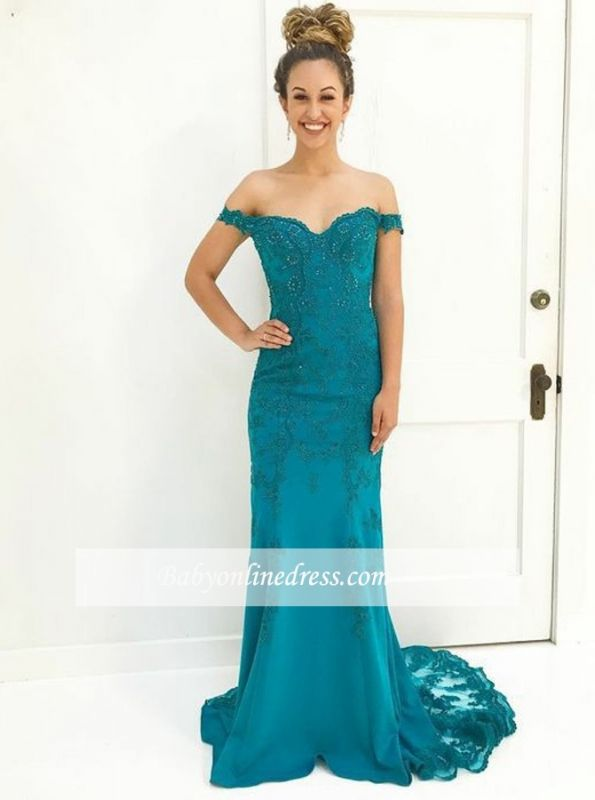 Gorgeous Lace-Appliques Off-The-Shoulder Prom Gowns | Mermaid Floor Length Evening Dresses