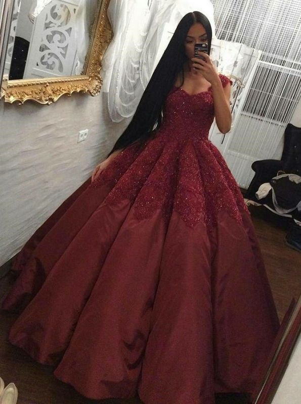 Luxury Burgundy Ball Gown Prom Dresses | Scoop Cap Sleeves Lace Appliques Long Evening Dresses