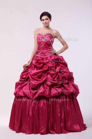 Discounted Glitz Dresses For Quinceanera 2021 Wholesale Sweetheart Beaded Flowers Gowns BO0859