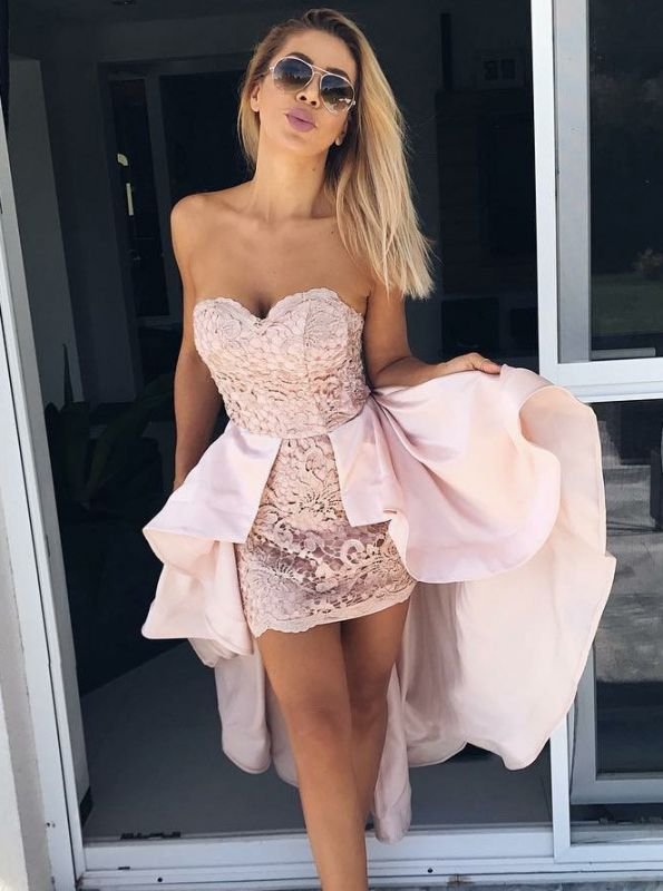 Chic Pink Lace Sheath Homecoming Dresses | Sweetheart Over-Skirt Short Cocktail Dresses