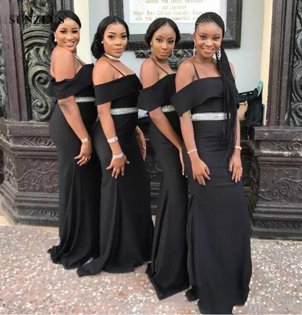 Chic Black Strapless Bridesmaid Dresses | Spaghettis Straps Beading Belt Wedding Party Dress