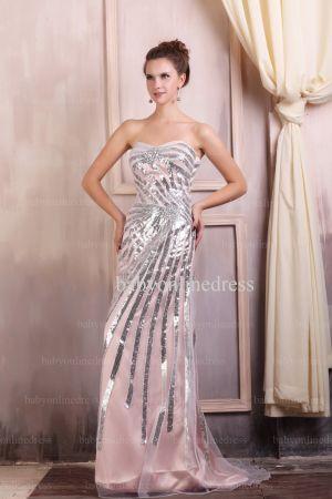 Wholesale Evening Dresses 2021 Sweetheart Sequins Sleeveless Chiffon Dress BO0690