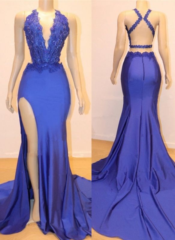 Elegant Royal Blue Mermaid Prom Dresses | V-Neck Open Back Evening Gowns