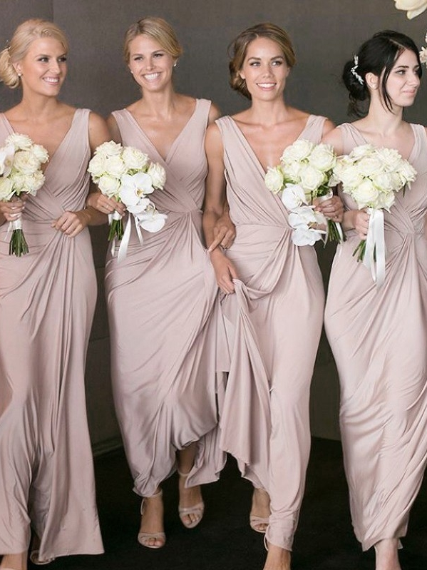 Cheap Ruched A-Line Bridesmaid Dresses | V-Neck Sleeveless Maid Of The Honor Dresses