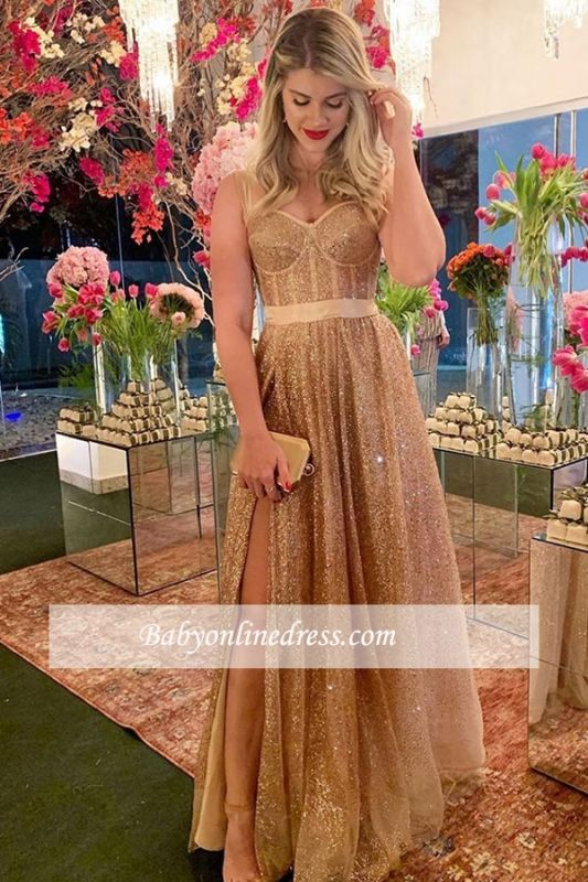 Formal Spaghetti-strap Side-slit Sash Gold Sweetheart A-line Sequin Evening Dress