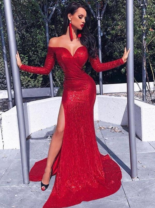 Sexy Red Sequins Mermaid Prom Dresses | Off The Shoulder Long Sleeves Slit Evening Dresses BC0602