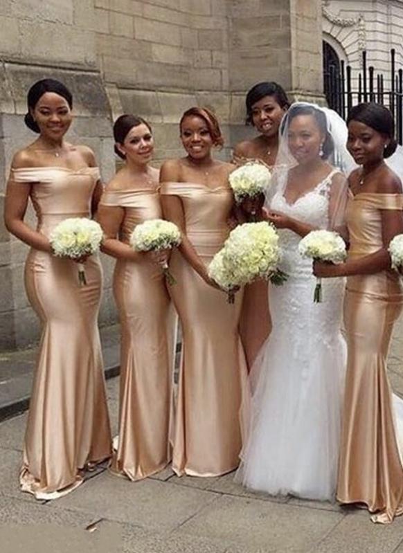 Cheap Mermaid Bridesmaid Dresses | Off-The-Shoulder Long Wedding Party Dresses