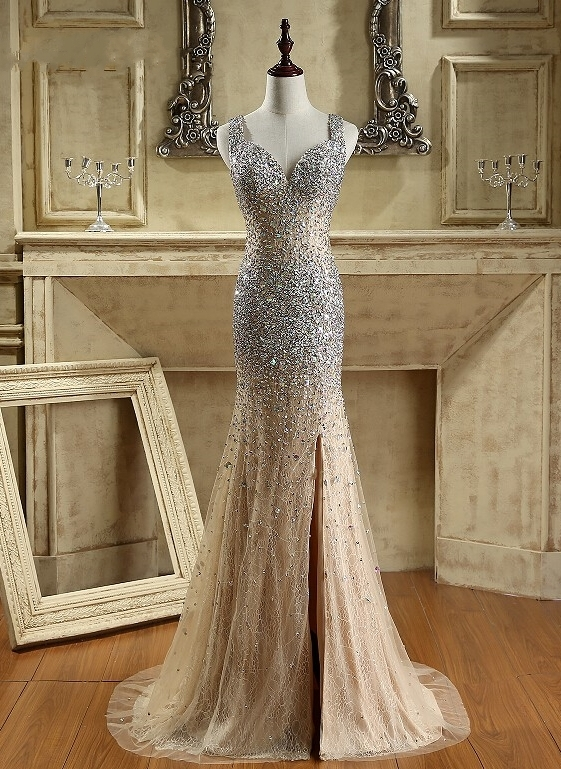 Luxury Crystals Mermaid Prom Dresses | Straps Open Back Evening Gowns