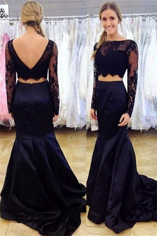 Black Two-Piece Mermaid Prom Dress 2021 Long-Sleeve Open-Back Lace Evening Gowns