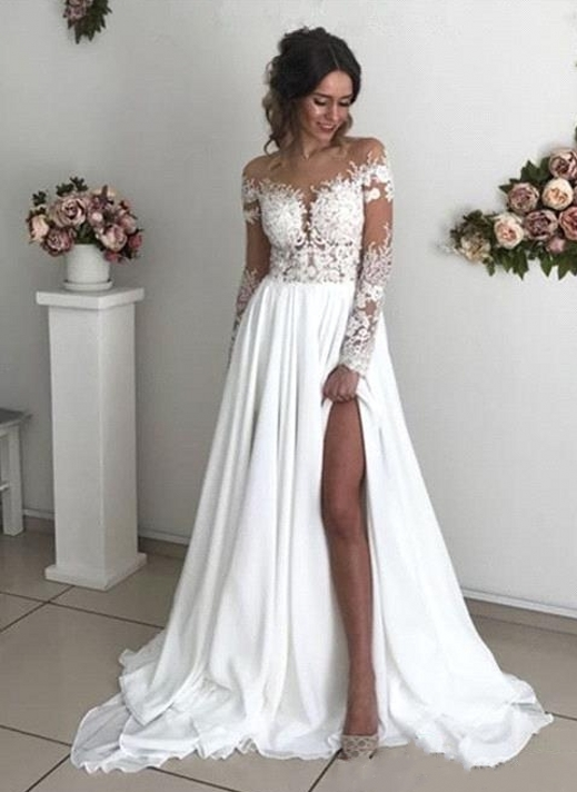Exquisite Lace Chiffon A-Line Wedding Dresses | Sheer Neck Long Sleeves Long Bridesmaid Dresses