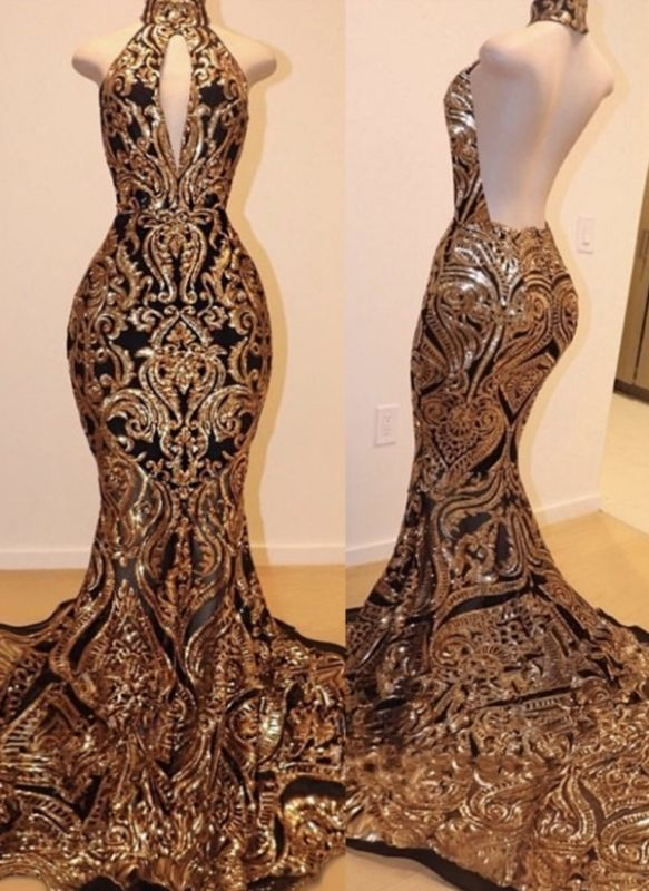 Luxury Black Gold Prom Dresses | High Keyhole Neckline Backless Evening Gowns