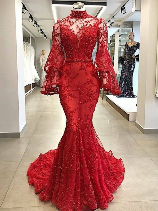 Luxury Red Mermaid Prom Dresses | High Neck Trumpet Sleeve Beading Evening Dress