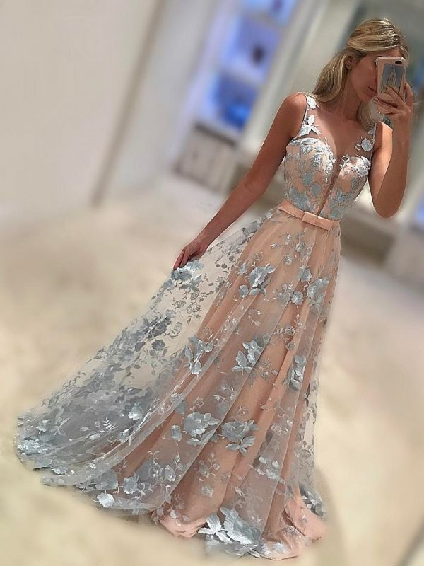 Elegant Lace A-Line Prom Dresses | Sleeveless Bows Long Evening Dresses BC1006