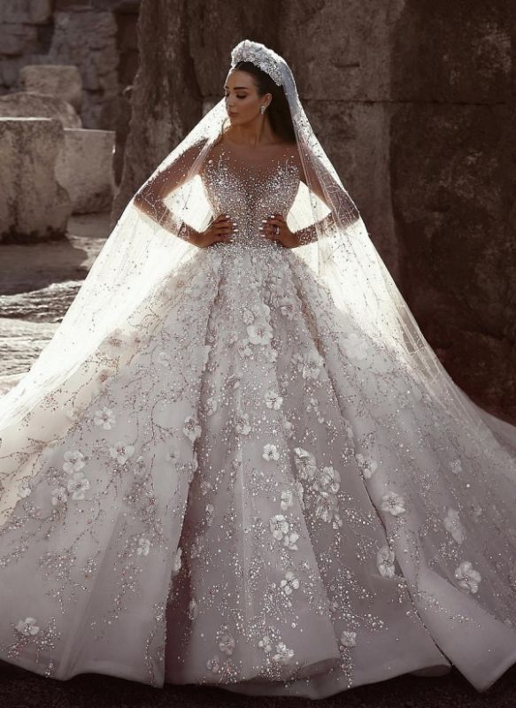 Luxury Beading Ball Gown Wedding Dresses | Sheer Neck Long Sleeves Floral Bridal Gowns WD0911