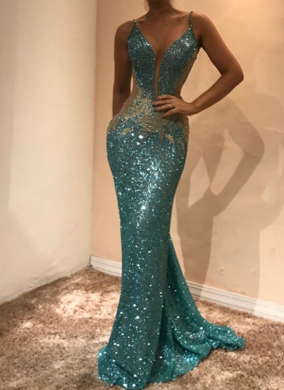 Shiny Sequins Mermaid Evening Dresses | Sexy See-Through Open-Back Long Prom Dresses