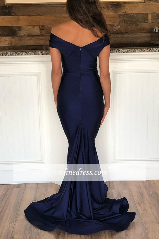 Mermaid Glorious Floor-Length Evening Dresses | Off-the-shoulder Blue Formal Gowns