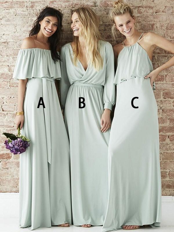 Cheap A-Line Bridesmaid Dresses | Simple Off-The-Shoulder Long Wedding Party Dresses