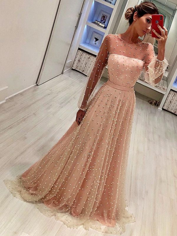 Luxury Crystals A-Line Prom Dresses | Scoop Long Sleeves Sheer Evening Dresses