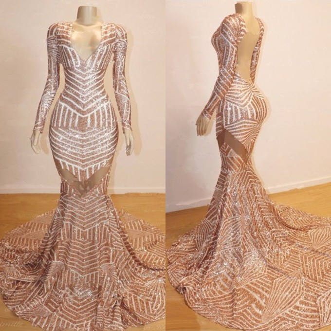 Sexy Champagne Mermaid Prom Dresses | Long Sleeves Sheer Evening Gowns