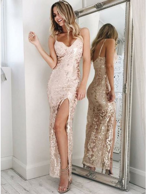 Sexy Sequins Mermaid Evening Dresses | Spaghetti Straps Side Slit Prom Dresses