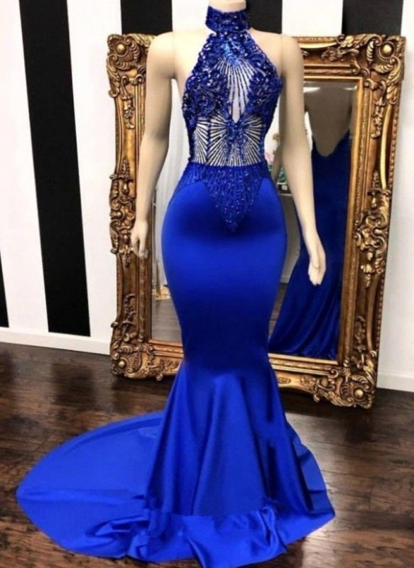 Sexy Royal Blue Prom Dresses | Halter Neck Backless Party Dresses
