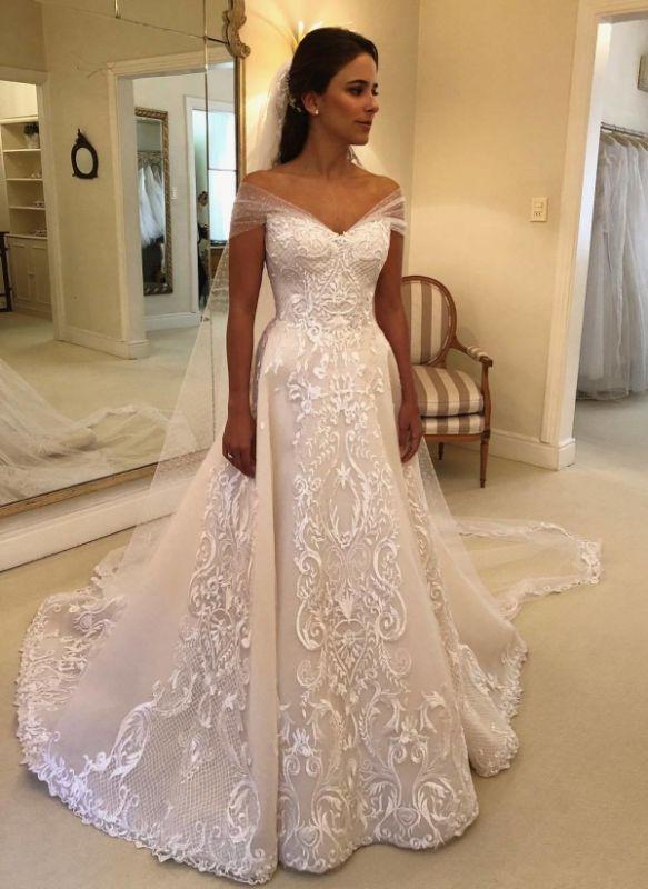 Elegant Off-the-Shoulder Wedding Dresses | Appliques A-line Bridal Gowns with Watteau Train