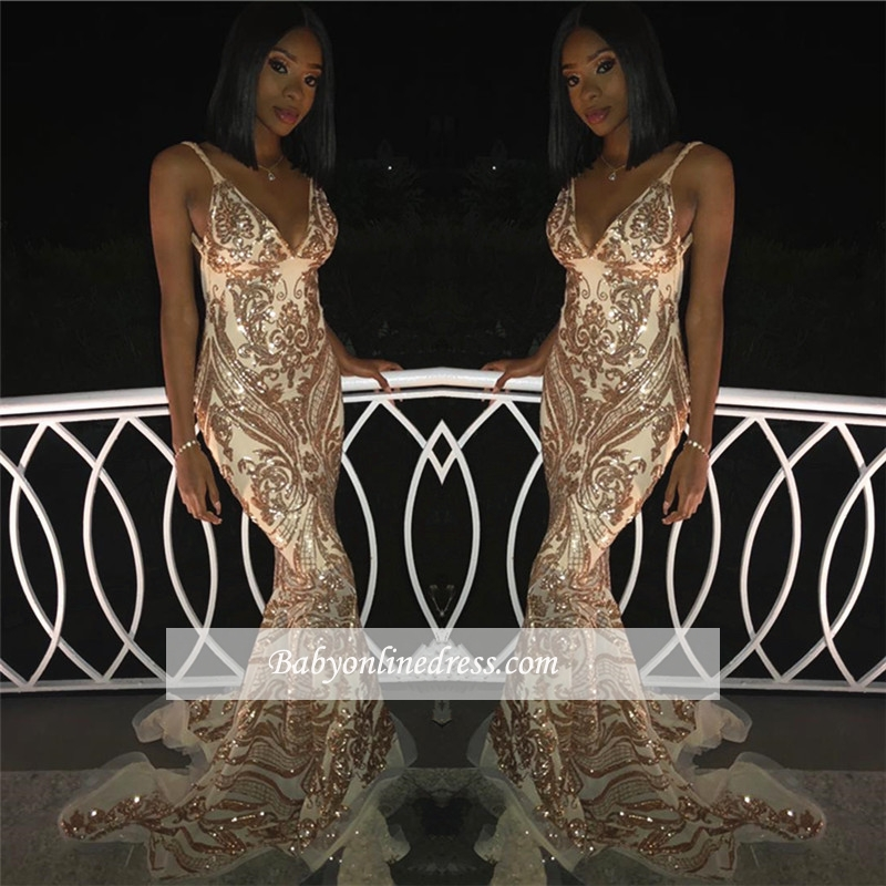 Luxury Spaghetti Straps Sleeveless Gold Prom Dresses | Mermaid Appliques 2021 Evening Gowns