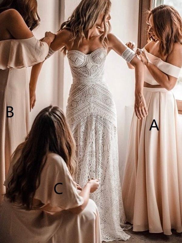 Elegant Long A-Line Bridesmaid Dresses | Off-The-Shoulder Maid Of The Honor Dresses