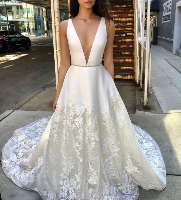 Sexy Deep V-Neck Wedding Dresses | Sleeveless Appliques A-line Bridal Gowns
